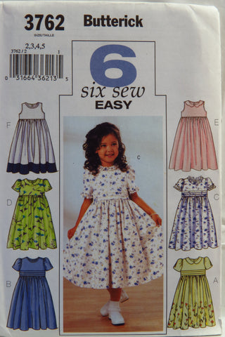 Butterick 3762 Girls' Dress - 2-3-4-5 - Smiths Depot Sewing Pattern Superstore