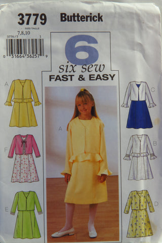 Butterick 3779 Girls' Jacket and Dress - 7-8-10 - Smiths Depot Sewing Pattern Superstore