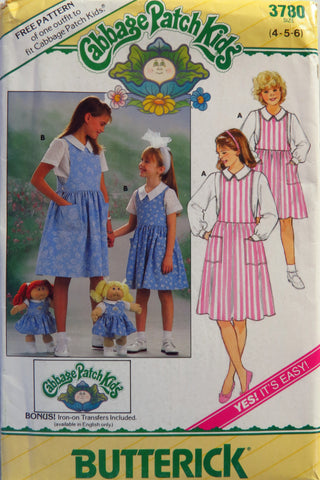 Butterick 3780 Cabbage Patch Kids Child's/Girls' Blouse, Jumper & Transfers - 4-5-6 - Smiths Depot Sewing Pattern Superstore