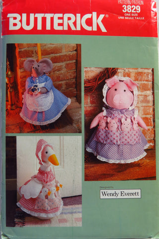 Butterick 3829 Pig or Goose Doorstop, Mouse Broom Cover -  - Smiths Depot Sewing Pattern Superstore