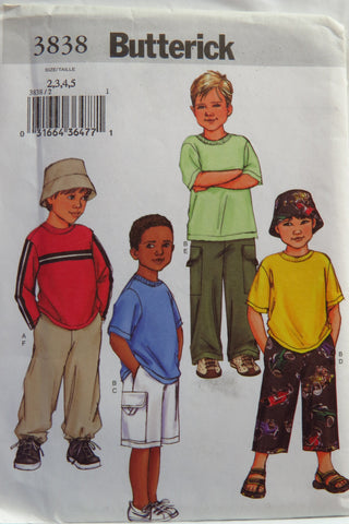 Butterick 3838 Boy's Top, Shorts, Pants and Hat - 2-3-4-5 - Smiths Depot Sewing Pattern Superstore