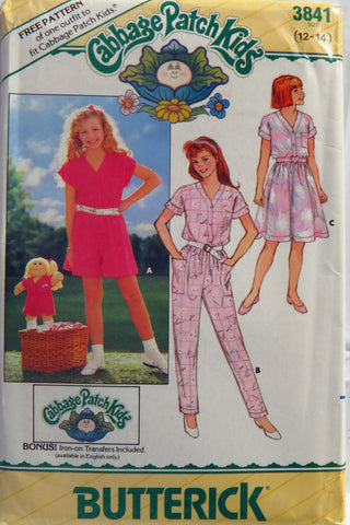 Butterick 3841 Girls' Dress, Jumpsuit and Transfer - 12-14 - Smiths Depot Sewing Pattern Superstore