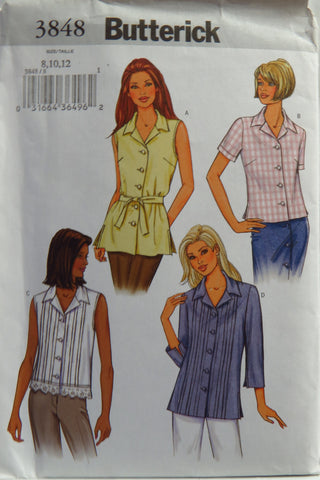 Butterick 3848 Misses'/Misses' Petite Top and Belt - 8-10-12 - Smiths Depot Sewing Pattern Superstore