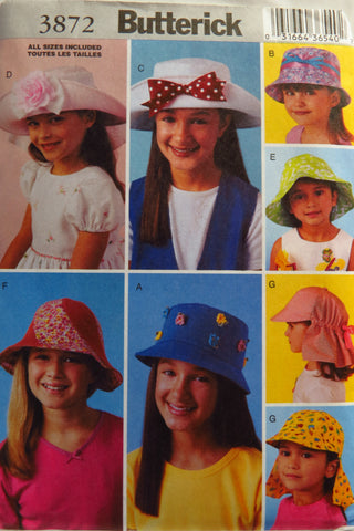Butterick 3872 Children's Hats -  - Smiths Depot Sewing Pattern Superstore