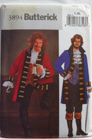 Butterick 3894 Men's Pirate Costume - L-XL - Smiths Depot Sewing Pattern Superstore