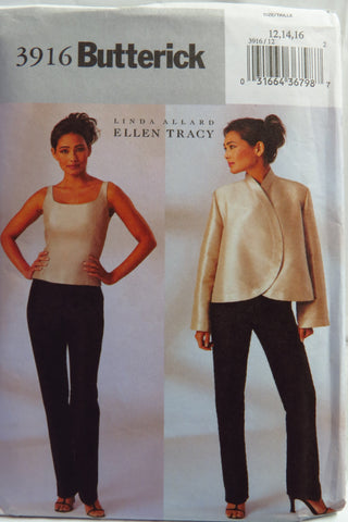 Butterick 3916 Misses'/Misses' Petite Jacket, Top and Pants - 12-14-16 - Smiths Depot Sewing Pattern Superstore