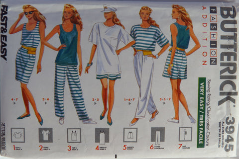 Butterick 3945 Misses' Tops, Dress, Shorts, Pants and Belt -  - Smiths Depot Sewing Pattern Superstore