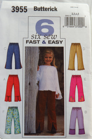 Butterick 3955 Girls' Pants -  - Smiths Depot Sewing Pattern Superstore