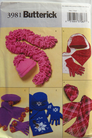 Butterick 3981 Misses' Hats, Scarves, and Gloves -  - Smiths Depot Sewing Pattern Superstore