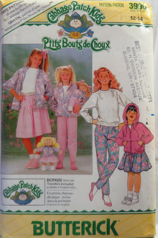 Butterick 3996 Cabbage Patch Kids Girl's Jacket, Skirt Pants and Transfer - 12-14 - Smiths Depot Sewing Pattern Superstore
