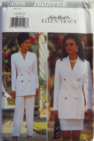 Butterick 4008 Misses'/Misses' Petite Jacket, Skirt and Pants - 18-20-22 - Smiths Depot Sewing Pattern Superstore