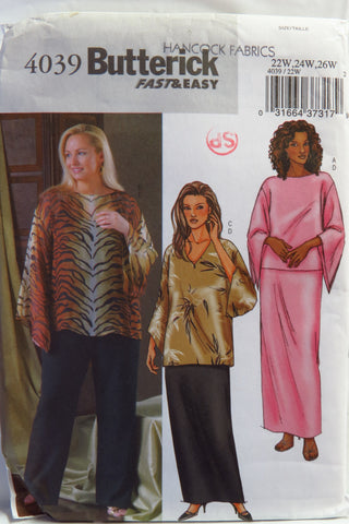 Butterick 4039 Women's/Women's Petite Top, Tunic, Skirt and Pants - 22W-24W-26W - Smiths Depot Sewing Pattern Superstore