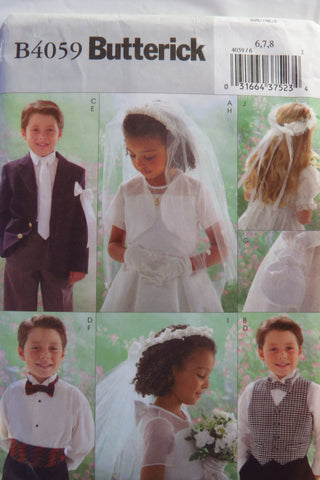 Butterick 4059 Boy's/Girl's Wedding Accessories - 6-7-8 - Smiths Depot Sewing Pattern Superstore