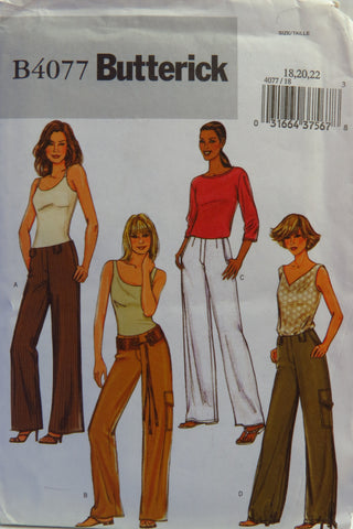 Butterick 4077 Misses'/Misses' Petite Pants - 18-20-22 - Smiths Depot Sewing Pattern Superstore