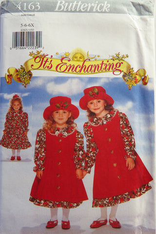 Butterick 4163 Children's Dress, Pinafore and Hat - 5-6-6X - Smiths Depot Sewing Pattern Superstore