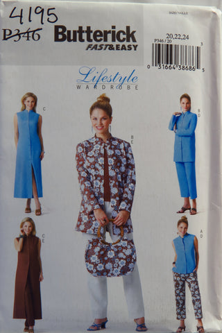Butterick 0346 Misses'/Misses' Petite Top, Jacket, Dress and Pants - 20-22-24 - Smiths Depot Sewing Pattern Superstore
