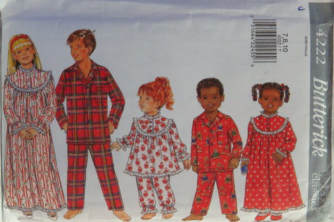Butterick 4222 Unisex Child's Pajamas and Sleepwear - 7-8-10 - Smiths Depot Sewing Pattern Superstore