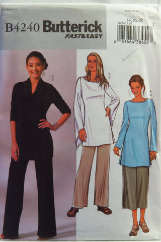 Butterick 4240 Misses'/Misses' Petite Tunics and Pants - 14-16-18 - Smiths Depot Sewing Pattern Superstore