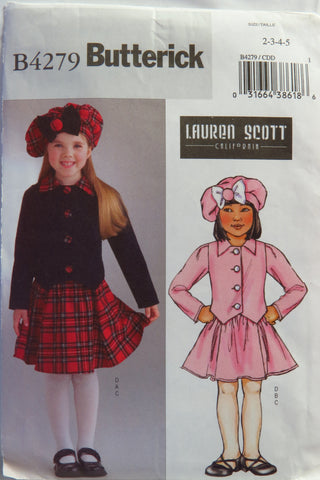 Butterick 4279 Girls' Jacket, Skirt and Hat - 2-3-4-5 - Smiths Depot Sewing Pattern Superstore  - 1