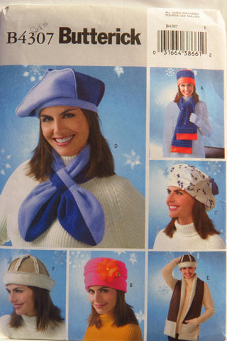 Butterick 4307 Misses' Fleece Hats and Scarves -  - Smiths Depot Sewing Pattern Superstore