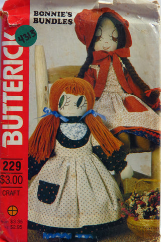 Butterick 0229 Bonnie's Bundles Doll -  - Smiths Depot Sewing Pattern Superstore