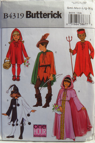 Butterick 4319 Boys' and Girl's Costume - S-M-L-XL - Smiths Depot Sewing Pattern Superstore
