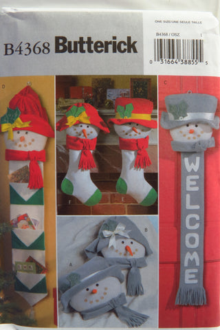 Butterick 4368 Snow People Christmas Items -  - Smiths Depot Sewing Pattern Superstore