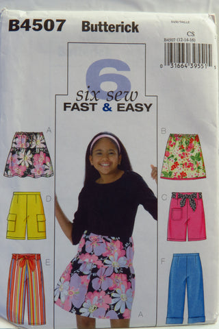 Butterick 4507 Girls' Skirt, Shorts, Capri Pants and Sash - 12-14-16 - Smiths Depot Sewing Pattern Superstore