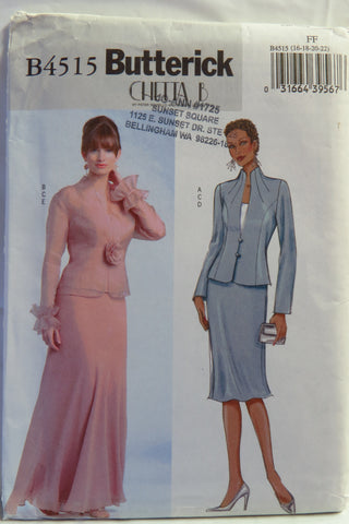 Butterick 4515 Misses'/Misses' Petite Jacket, Top and Skirt - 16-18-20-22 - Smiths Depot Sewing Pattern Superstore