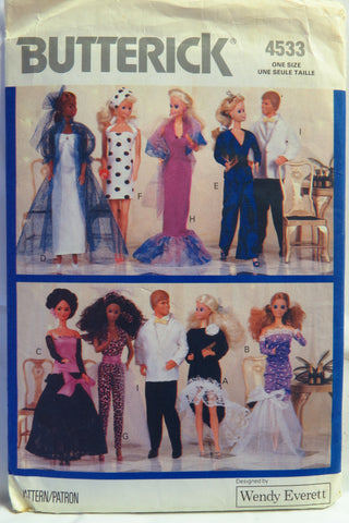 "Butterick 4533 11½"" Fashion Doll Clothes -  - Smiths Depot Sewing Pattern Superstore"