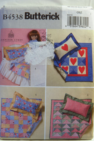 "Butterick 4538 18"" Doll Bed and Quilts for Dolls -  - Smiths Depot Sewing Pattern Superstore"