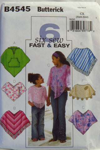 Butterick 4545 Girls' Poncho - XS-S - Smiths Depot Sewing Pattern Superstore