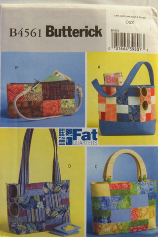 Butterick 4561 Fat Quarters Handbags -  - Smiths Depot Sewing Pattern Superstore