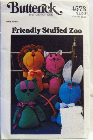Butterick 4573 Friendly Zoo Stuffed Animals -  - Smiths Depot Sewing Pattern Superstore
