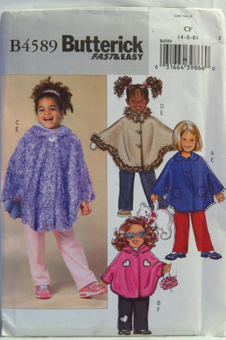 Butterick 4589 Girl's Poncho and Pants - 4-5-6 - Smiths Depot Sewing Pattern Superstore