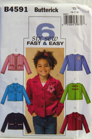 Butterick 4591 Girl's Jacket - 6-7-8 - Smiths Depot Sewing Pattern Superstore