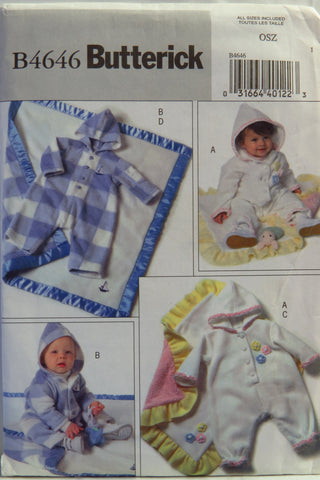 Butterick 4646 Infants' Jumpsuit and Blanket -  - Smiths Depot Sewing Pattern Superstore