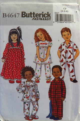 Butterick 4647 Toddlers' Sleepwear and Pajamas - 4-5-6 - Smiths Depot Sewing Pattern Superstore