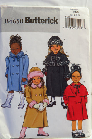 Butterick 4650 Toddlers'/Girl's Coat and Hat - 2-3-4-5 - Smiths Depot Sewing Pattern Superstore