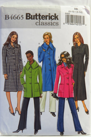 Butterick 4665 Misses'/Misses' Petite Jacket and Coat - 8-10-12-14 - Smiths Depot Sewing Pattern Superstore