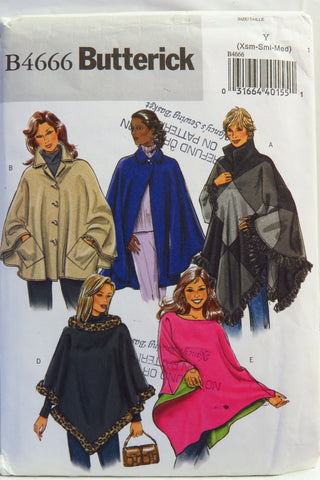 Butterick 4666 Misses' Ponchos - XS-S-M - Smiths Depot Sewing Pattern Superstore