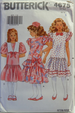 Butterick 4675 Girl's Dress - 12-14 - Smiths Depot Sewing Pattern Superstore