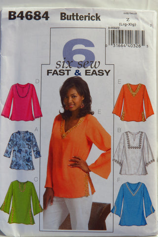 Butterick 4684 Misses' Tops - L-XL - Smiths Depot Sewing Pattern Superstore