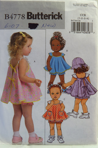 Butterick 4778 Toddlers' Pinafore, Panties and Hat - 1-2-3-4 - Smiths Depot Sewing Pattern Superstore
