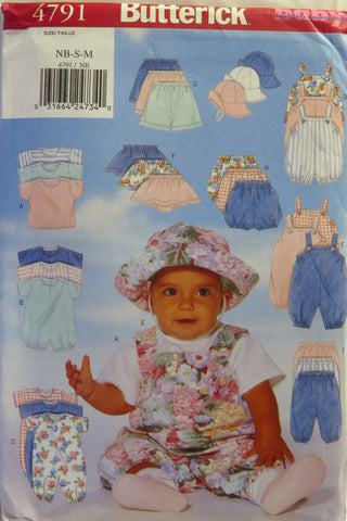 Butterick 4791 Infants' T-Shirt, Romper, Jumpsuit, Skirt, Shorts, Pants and Hat - NB-S-M - Smiths Depot Sewing Pattern Superstore
