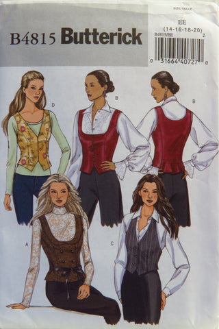 Butterick 4815 Misses' Vest - 14-16-18-20 - Smiths Depot Sewing Pattern Superstore