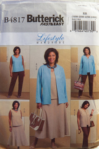 Butterick 4817 Women's/Women's Petite Jacket, Vest, Top, Skirt and Pants - RR (18W-20W-22W-24W) - Smiths Depot Sewing Pattern Superstore