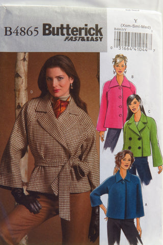 Butterick 4865 Misses'/Misses' Petite Jacket and Belt - XS-S-M - Smiths Depot Sewing Pattern Superstore