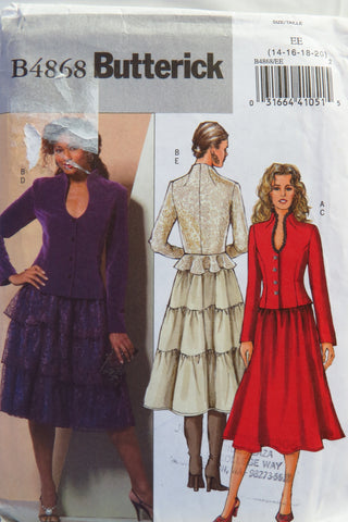 Butterick 4868 Misses Jacket and Skirt - 14-16-18-20 - Smiths Depot Sewing Pattern Superstore