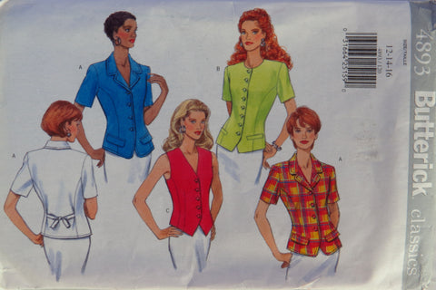 Butterick 4893 Misses' Tops - 12-14-16 - Smiths Depot Sewing Pattern Superstore